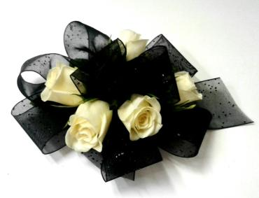 Black Ribbon white Roses