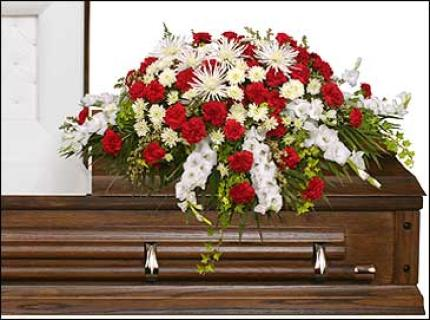 Graceful Red & White Casket Spray