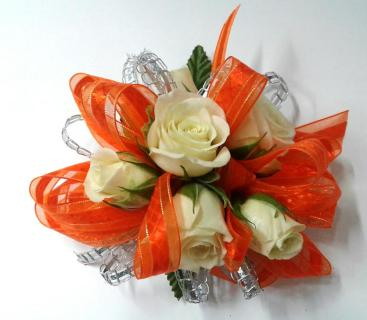 White Spray Roses With orange Ribbon