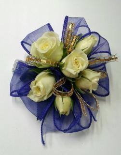 Purple Ribbon With White Spray