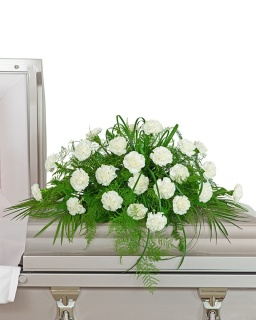 White Divinity Casket Spray