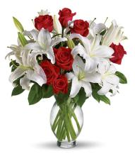 Classic White Lilies and Red Roses