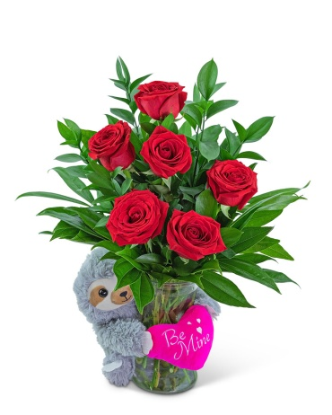 Be Mine Classic Six Red Roses with Sloth