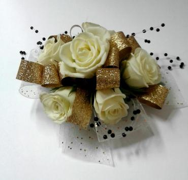 White Rose With Gold Ribbon and Black Pearls