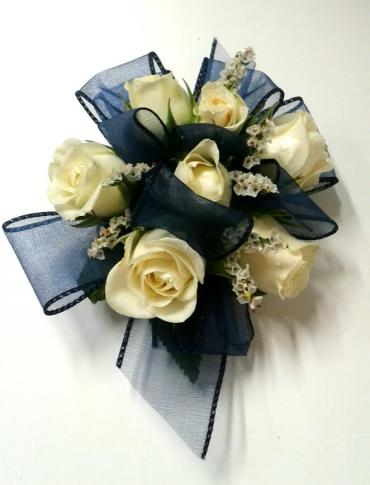 White Roses with Blue Ribbon