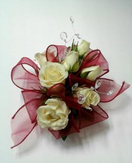 Red Ribbon with Roses and Gems